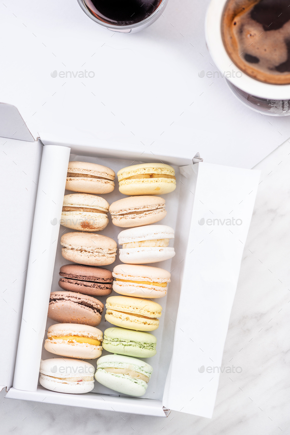 Macaroons and Coffee on Table. Flat Lay. Copy Space for Branding or Brand - Stock Photo - Images