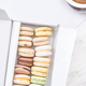 Macaroons and Coffee on Table. Flat Lay. Copy Space for Branding or Brand - PhotoDune Item for Sale