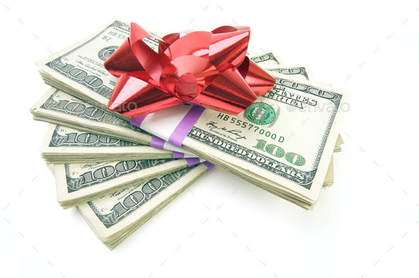 Stack of Money with Bow - Stock Photo - Images