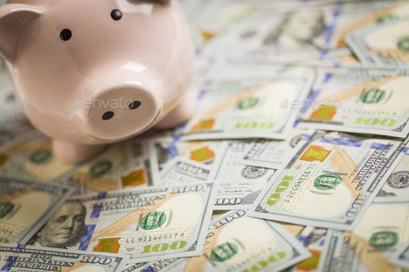 Piggy Bank on Newly Designed One Hundred Dollar Bills - Stock Photo - Images
