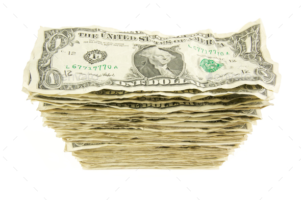 Pile of Crumpled Dollar Bills - Stock Photo - Images