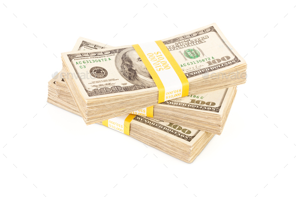 Stacks of One Hundred Dollar Bills Isolated - Stock Photo - Images