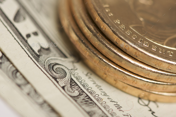 Abstract U.S. Dollar Coins & Bills - Stock Photo - Images