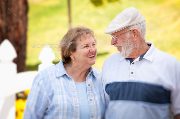 Happy Senior Couple in The Park - Stock Photo - Images