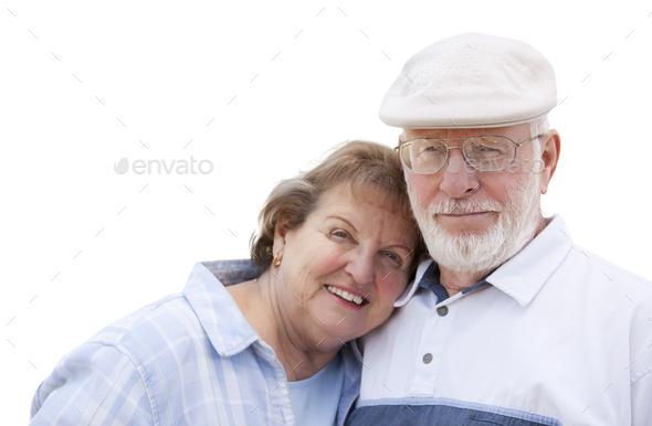 Happy Senior Couple Isolated on White - Stock Photo - Images