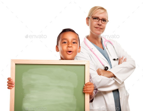 Female Doctor with Hispanic Child Holding Chalk Board - Stock Photo - Images