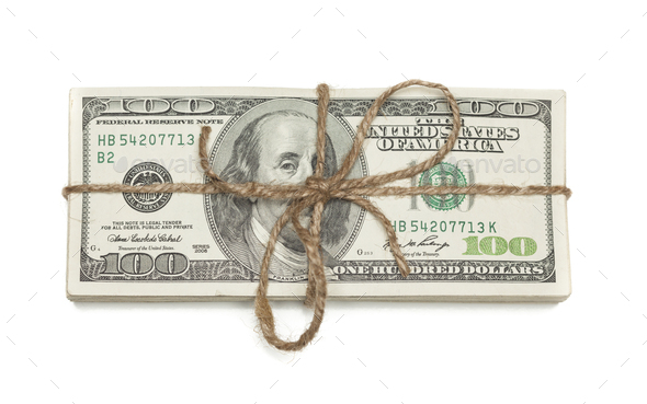 Stack of One Hundred Dollar Bills Tied in a Burlap String on White - Stock Photo - Images