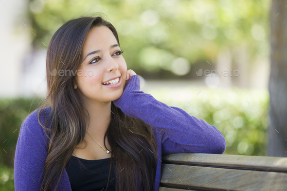 Mixed Race Female Student Portrait on School Campus - Stock Photo - Images