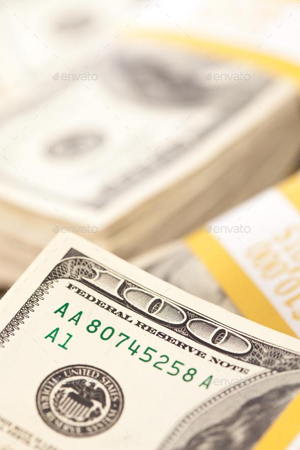 Stacks of One Hundred Dollar Bills - Stock Photo - Images