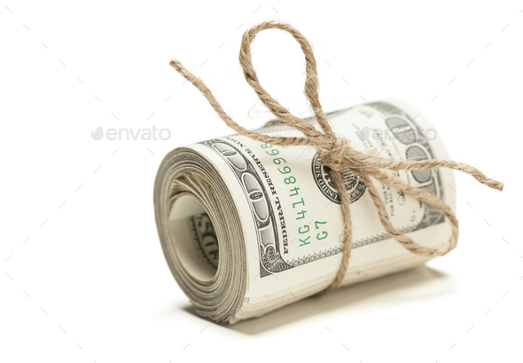 Roll of One Hundred Dollar Bills Tied in Burlap String on White - Stock Photo - Images