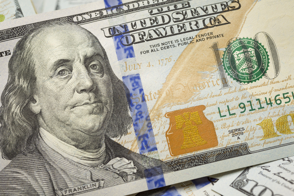 Abstract Detail of Newly Designed United States One Hundred Dollar Bill - Stock Photo - Images