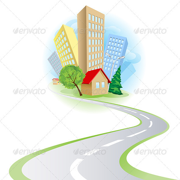 Townhouses cottages and the road - Buildings Objects