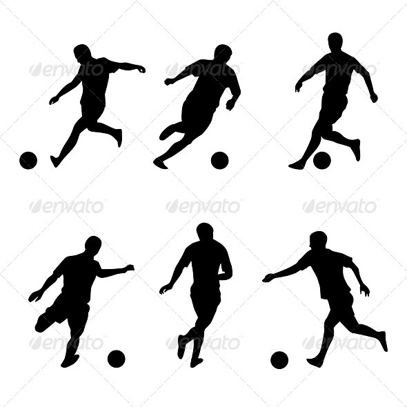 Soccer, football players silhouettes - Characters Vectors