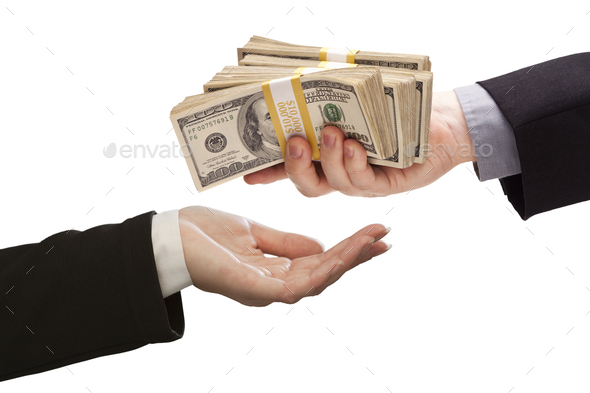Handing Over Cash to Other Hand on White - Stock Photo - Images
