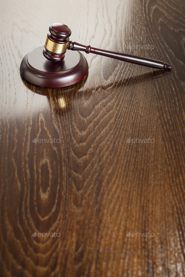 Wooden Gavel Abstract on Reflective Table - Stock Photo - Images