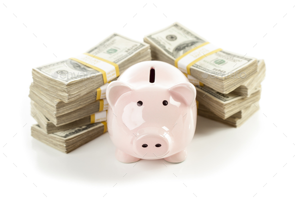 Pink Piggy Bank with Stacks of Money - Stock Photo - Images