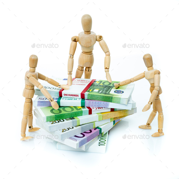Miniature people on Euro banknotes. business, office, household, banking, tax, gambling concept - Stock Photo - Images