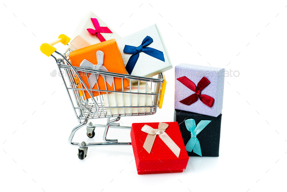 Trolley with gifts on a white background. - Stock Photo - Images