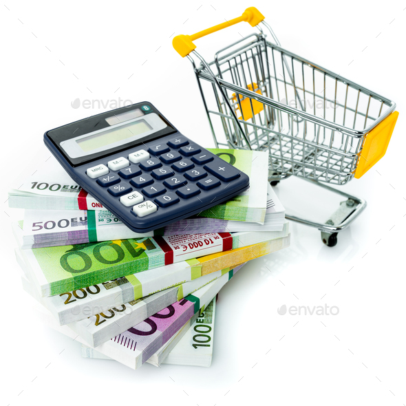 Shopping cart with euro, calculator isolated on white - Stock Photo - Images