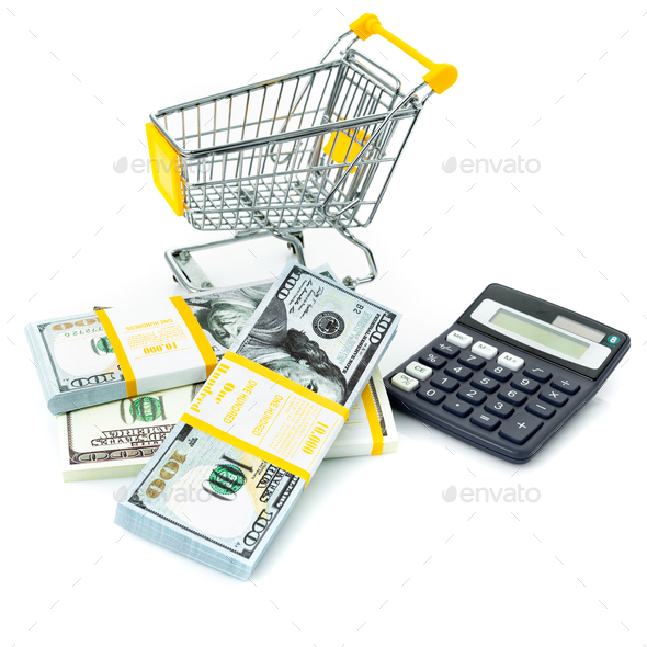 calculator and money. Cash and calculator. Purchase Cost Calculation. Shopping consept - Stock Photo - Images