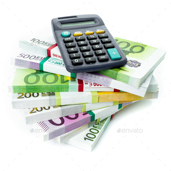 Financial Accounting Concept. euro bills with a calculator - Stock Photo - Images