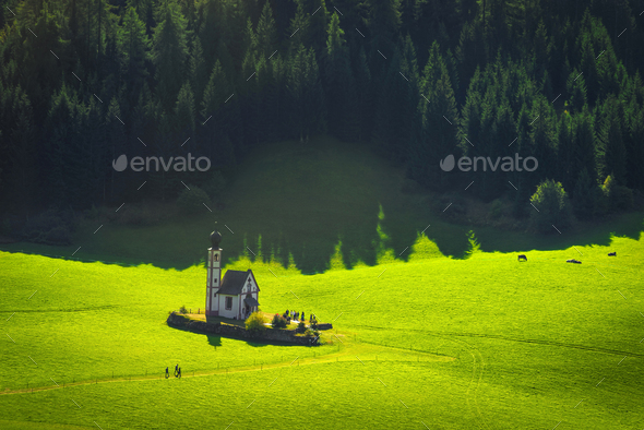 San Giovanni or St Johann in Ranui chapel, Funes Valley, Dolomites Alps, Italy. - Stock Photo - Images