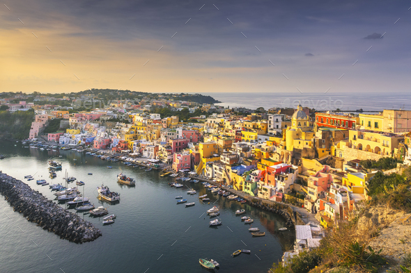 Procida island and village with colorful houses. Campania, Italy. - Stock Photo - Images