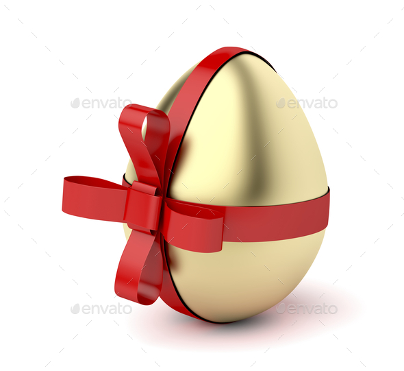 Gold egg with red ribbon - Stock Photo - Images