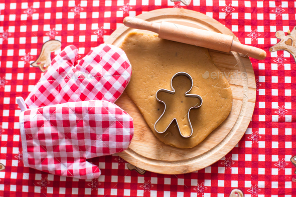 Raw gingerbread cookie dough for Christmas - Stock Photo - Images
