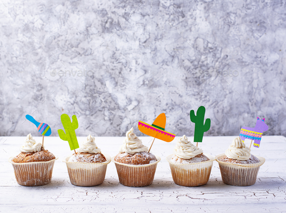 Cupcakes for celebrating Mexican party fiesta - Stock Photo - Images