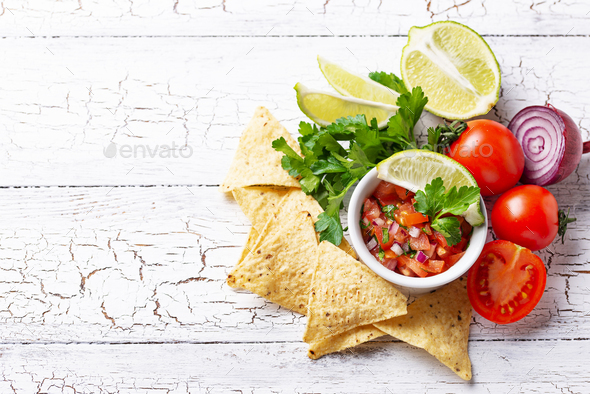 Traditional mexican tomato salsa sauce - Stock Photo - Images