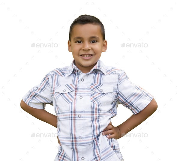 Young Hispanic Boy on White - Stock Photo - Images