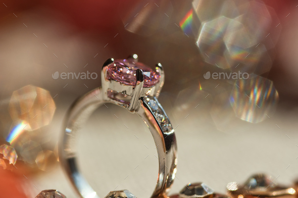 Gemstone ring the precious gift - Stock Photo - Images