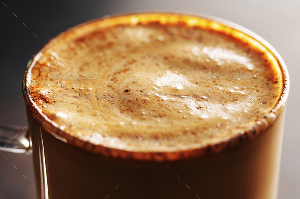Fresh made coffee served in cup - Stock Photo - Images