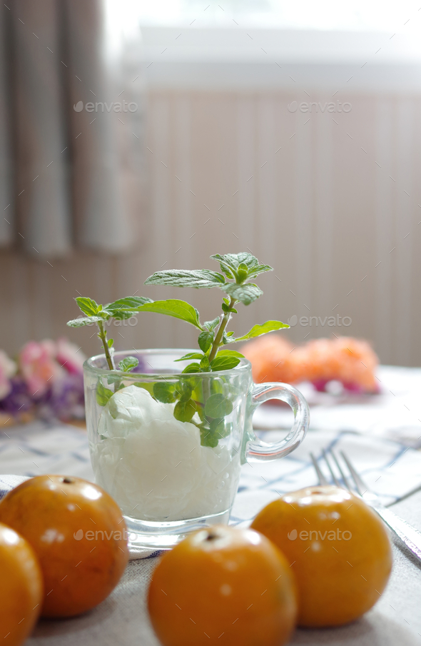 Mint leaf in a glass - Stock Photo - Images