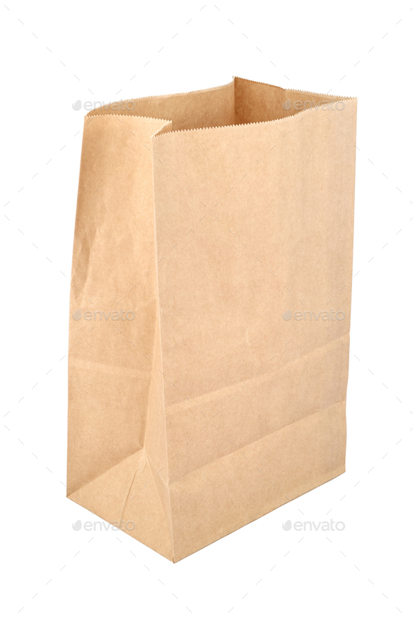 Brown empty disposable paper bag isolated on white - Stock Photo - Images