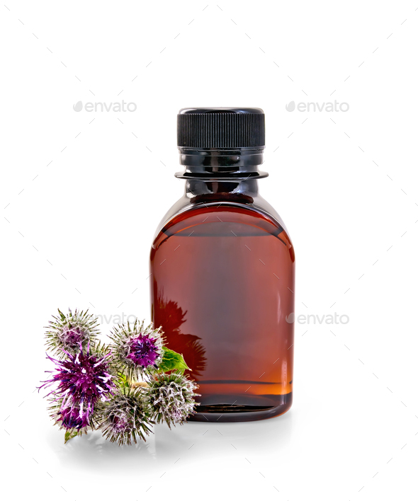 Oil with burr in bottle - Stock Photo - Images