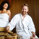 Beautiful couple relaxing in sauna and caring about health and skin - PhotoDune Item for Sale