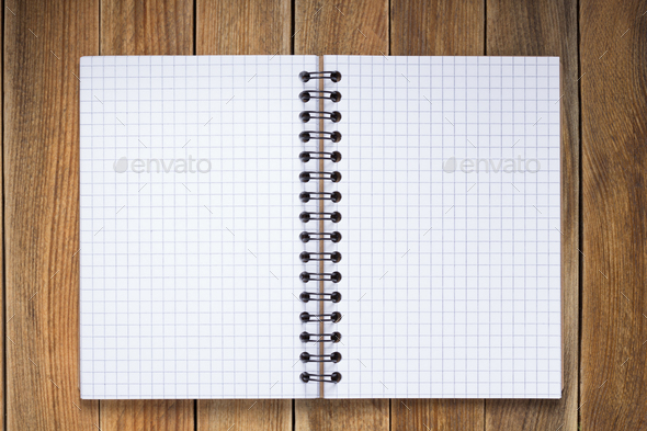 notepad or notebook paper at  wooden background - Stock Photo - Images