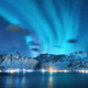 Aurora borealis over the sea, snowy mountains and city lights - PhotoDune Item for Sale