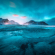 Aurora borealis above the snowy mountains and sandy beach - PhotoDune Item for Sale