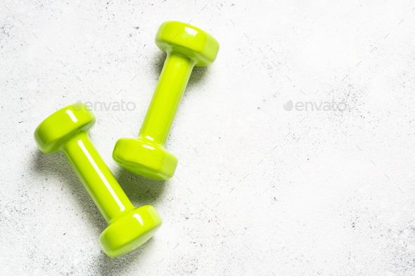 Dumbbells on white background top view - Stock Photo - Images