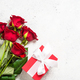 Red roses flower and present box on white background top view - PhotoDune Item for Sale