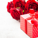 Red roses flower and present box on white - PhotoDune Item for Sale