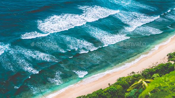 Aerial view of Nunggalan Beach near Uluwatu, Bali, Indonesia - Stock Photo - Images