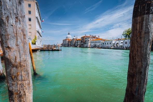Grand Canal and Basilica Santa Maria della Salute at bright sunny day, Venice, Italy - Stock Photo - Images
