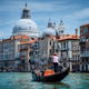 Traditional Gondola and gondolier on Canal Grande with Basilica di Santa Maria della Salute in the - PhotoDune Item for Sale