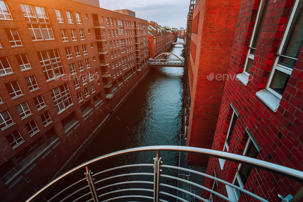 Top view of Warehouse District from canal side with red brick buildings of Speicherstadt in Hamburg - Stock Photo - Images