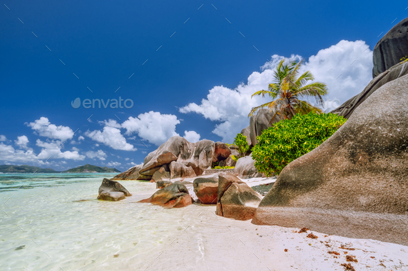 Anse Source d'Argent. Paradise exotic beach on island La Digue in Seychelles - Stock Photo - Images