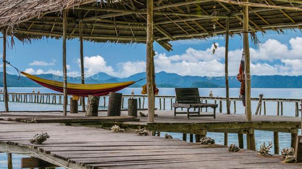 Hammock on Diving Station - Kri Island. Raja Ampat, Indonesia, West Papua - Stock Photo - Images